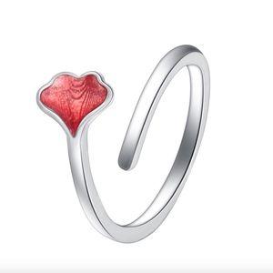 Red Ginkgo Glaze Sterling Silver Wraparound Ring